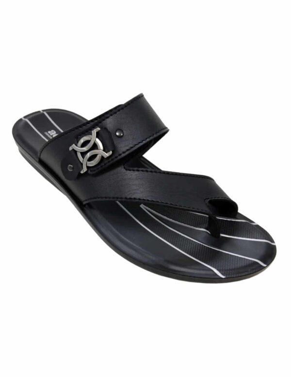 AerosoftnSynthetic Leather Slippers For Men P3308 black